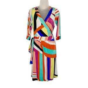 Melissa Masse geometric true wrap tie midi dress